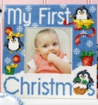 Cross stitch pattern to FREE download instantly in PDF file, with baby photo frame
