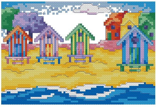 Cross stitch pattern to FREE download instantly in PDF file, with beach in summer