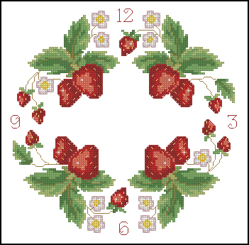 Cross stitch pattern to FREE download instantly in PDF file, and embroider a clock with stramberries