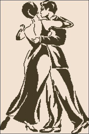 Cross stitch pattern to download for FREE in PDF, print and embroider tango dancers