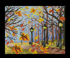 Cross stitch pattern to download for FREE in PDF, print and embroider autumn park with streetlights