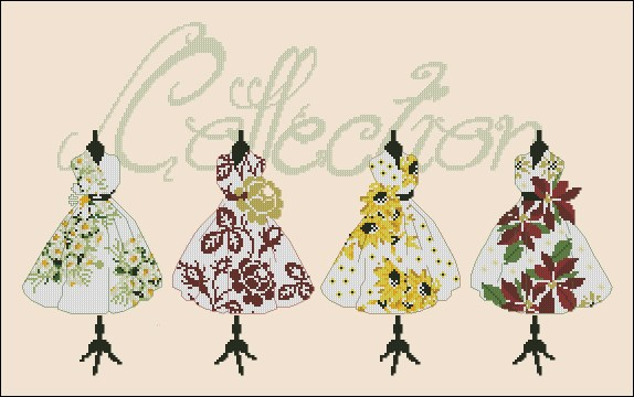 Cross stitch pattern to download for FREE in PDF, print and embroider a dressed's collection