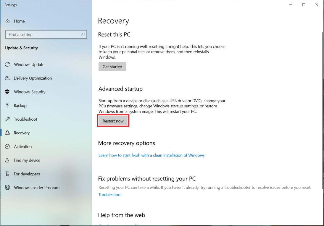 under advanced setup click restart now