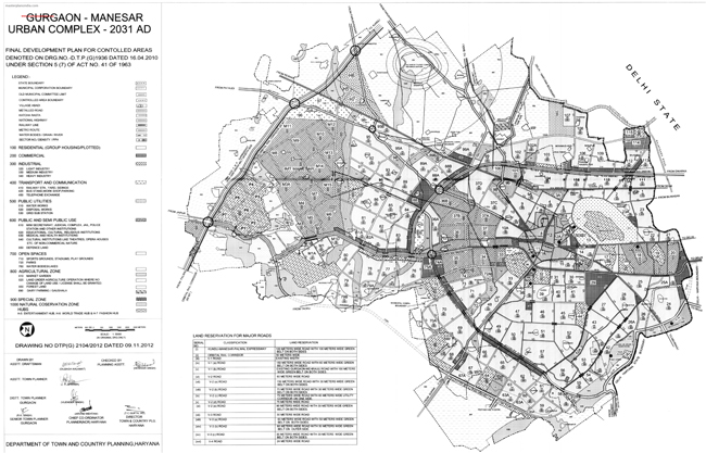 Gurgaon Manesar Master Plan 2031 Map
