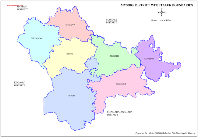 Mysore District with Taluk Boundries Map