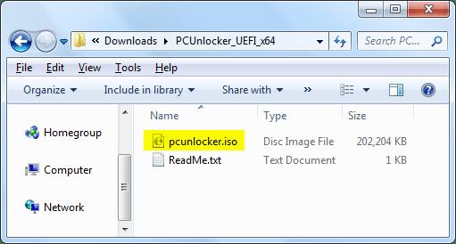 reset windows password with PCU