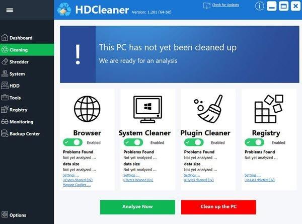 HDCleaner main windows