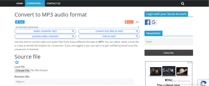 Convert to mp3 audio format