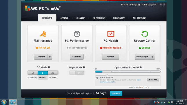 AVG PC Tueup feature