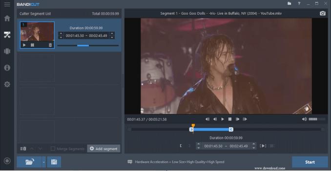 Bandicut Video Cutter cut segment