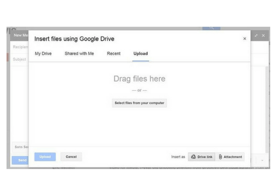 G Suite Sharing files via Gmail