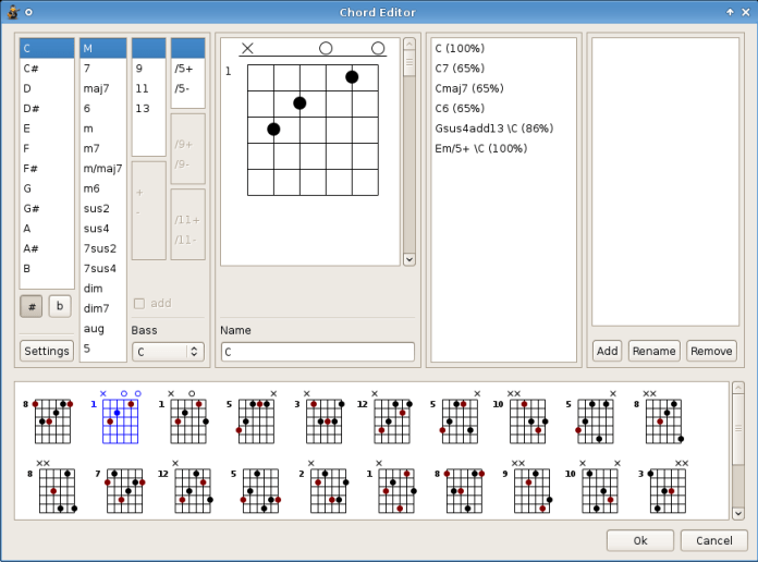 TuxGuitar Software shows Chord Editor