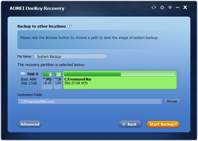 aomei onekey recovery Backup Location