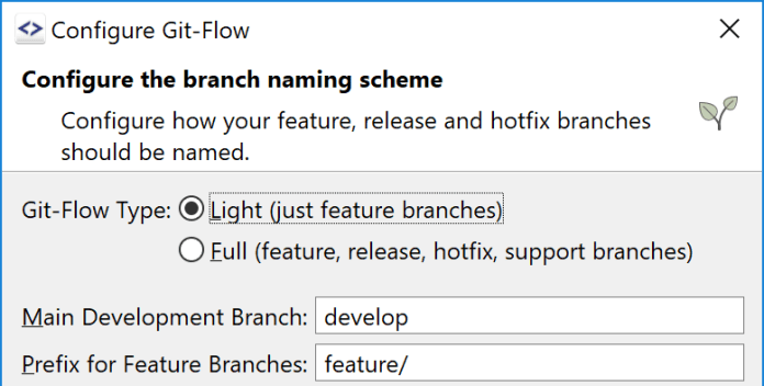 SmartGit Software shows Configure Gitflow