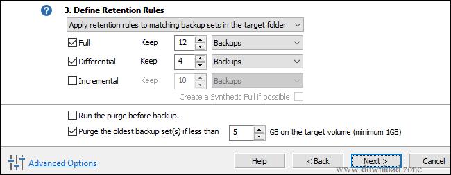 define retention rule of Macrium Reflect