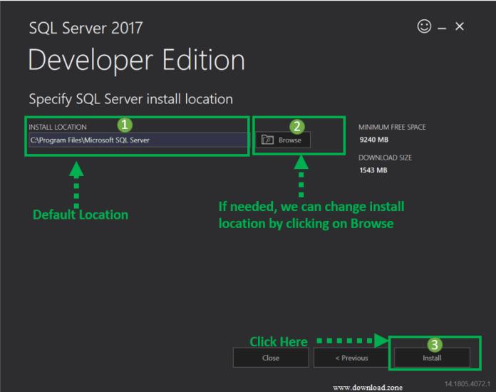 SQL Server install location