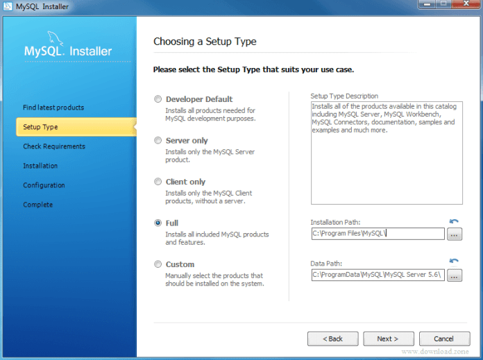 setup type of MySQL