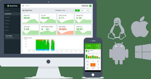Desktime software showing Mobile apps platforms
