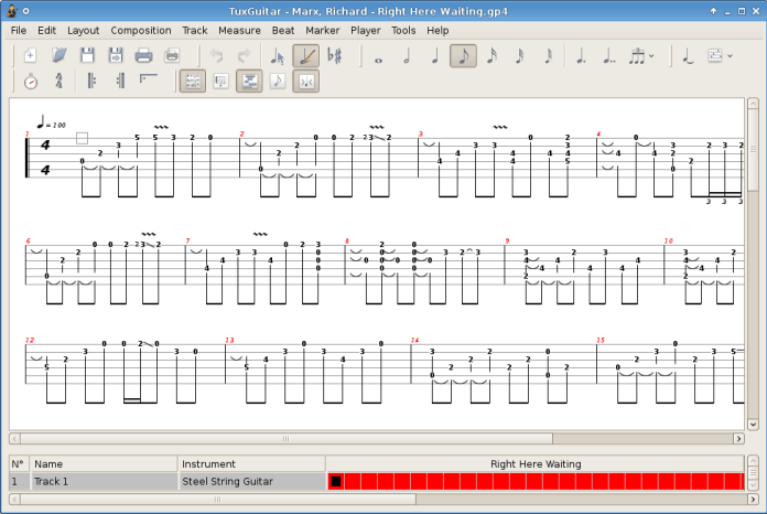 TuxGuitar Software showing functions