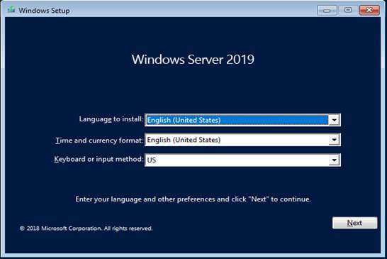 windows server2019-open setup