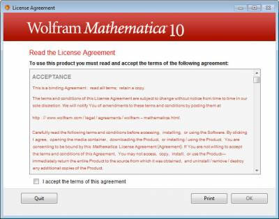 mathematica-Licence agreement
