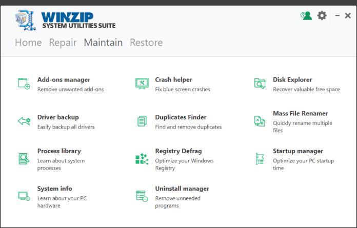 WinZip System Utilities Suite showing display screen