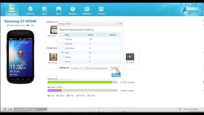 Mobogenie for PC download - data backup