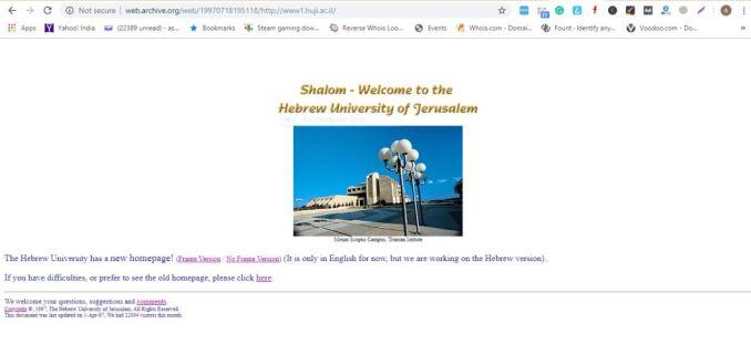 10th website ever - hebrew university israel
