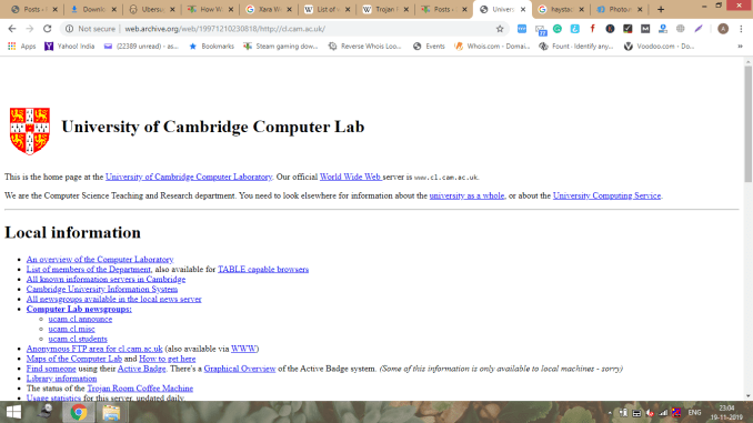 32nd - University of Cambridge Computer Lab - the internet time travel