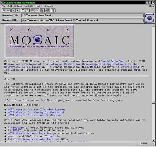 5th website ever - ncsa on mosaic browser - the first internet browser of all time