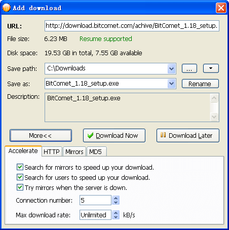 BitComet Download Manager- Add Download File