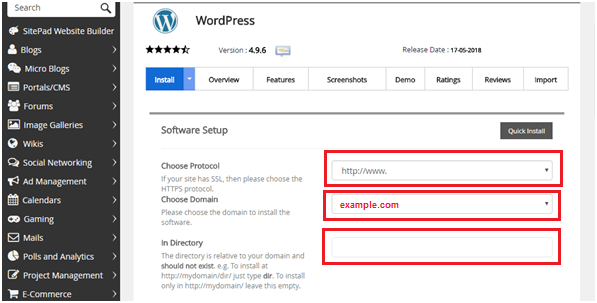 Install WordPress Website name
