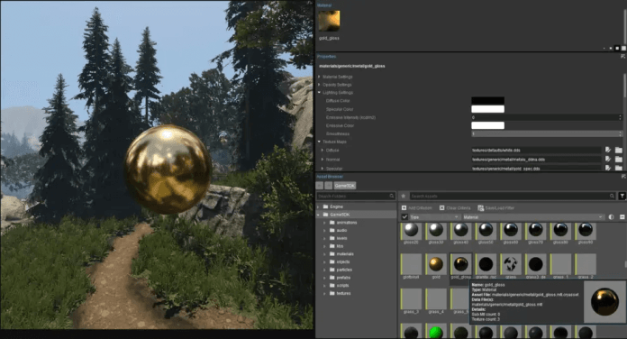 material editor of CryEngine Game Engine
