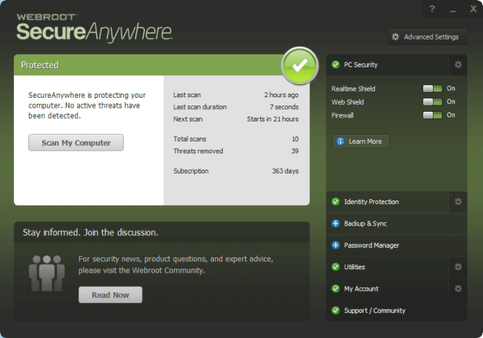 Webroot SecureAnywhere Antivirus PC Security