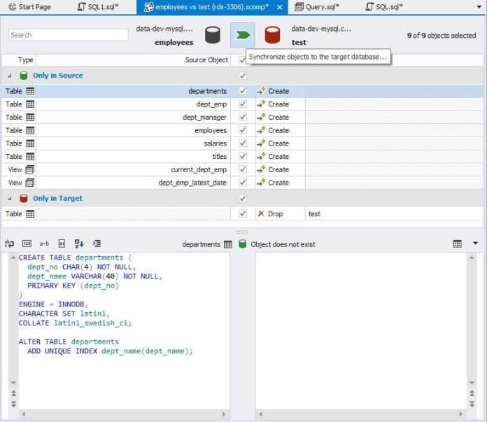 dbforge studio for mysql schema comparison