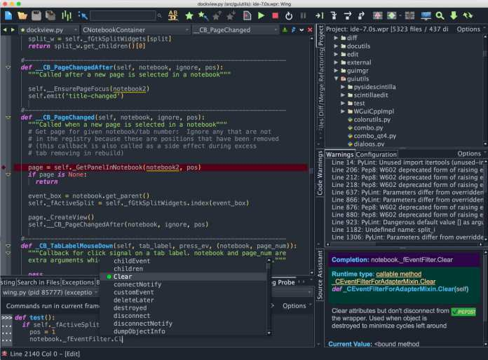 wing ide for code editor