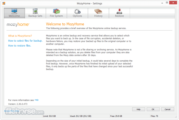 Mozy Home For Backup Software For PC