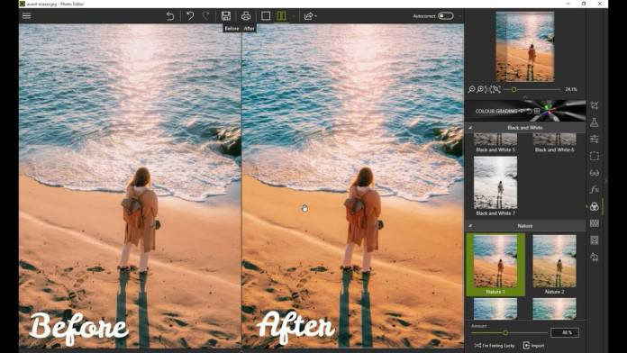Photo eduit with before and after effects