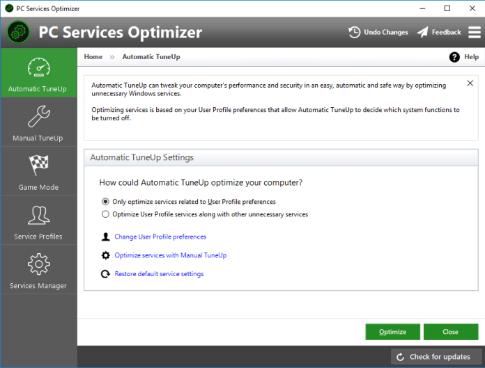 Automatic TuneUp For System Manager And Optimizer
