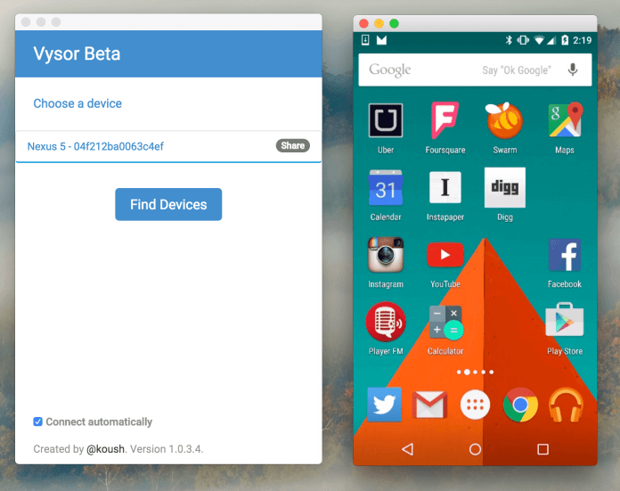 Vysor Software To Control Phone From PC