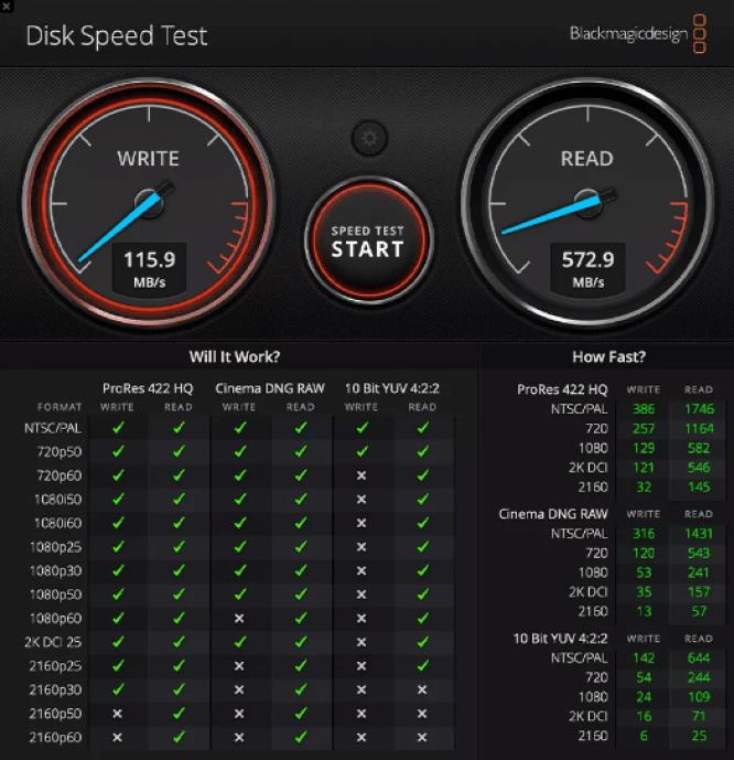 disk speed test result