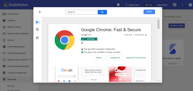 google crome app from google play store