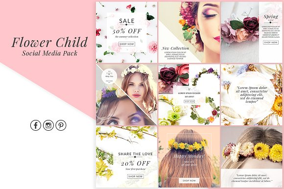 Social Media Graphics Flower Child 1313204 | CreativeMarket