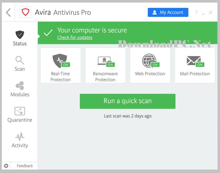 Avira Antivirus Pro Full Version Download Interface