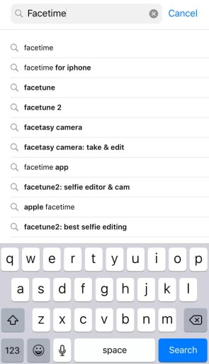 Search Facetime for iOS