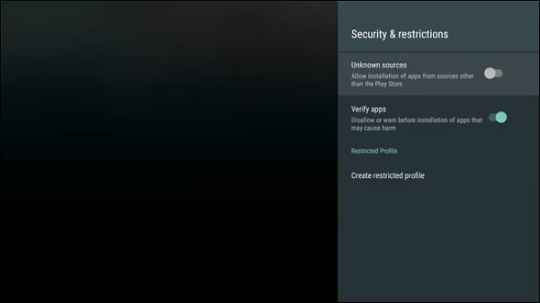 Toggle on Unknown Sources to get Google Play Store for Android TV