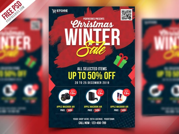 Free Christmas Sale Flyer Template PSD Download PSD