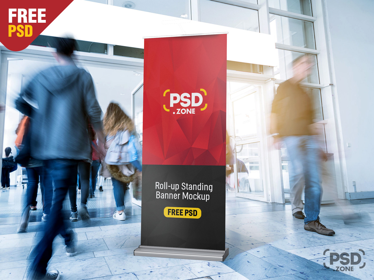 Nowadays, more companies are prone to use this outdoor branding. Free Roll Up Banner Mockup Download Psd