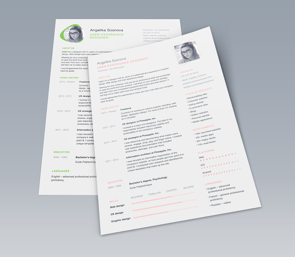 Clean UI Designer Resume Template Free PSD Download   Download PSD Clean UI Designer Resume Template Free PSD