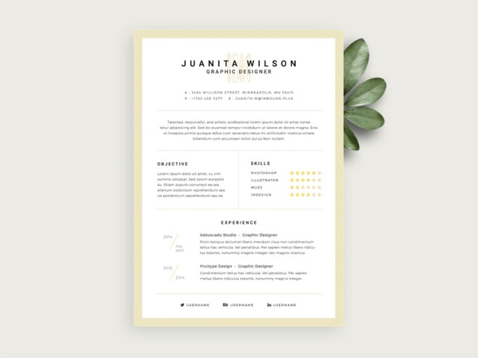 Simple Resume Template Free PSD   Download PSD Simple Resume Template Free PSD